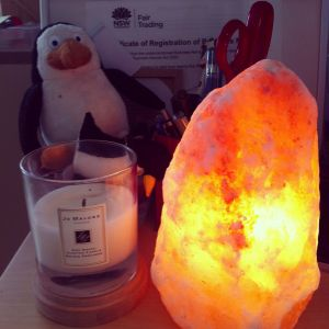 Oh yes, thought I would also share my Himalayan salt lamp with you!